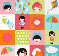 Tela de patchwork con preciosos estampados de cuadros con muñecas, flores y paraguas
