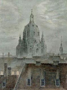 Die Frauenkirche in Dresden - Carl Gustav Carus 1824 German 1789-1869