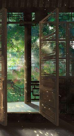 Fantasy Art Landscapes, Fantasy Landscape, Landscape Art, Beautiful Landscapes, Image Japon, Anime Places, Japon Illustration, Fantasy Places, Anime Scenery Wallpaper