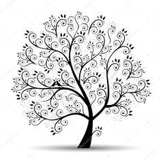 Herunterladen - Kunst Baum schön, schwarz Silhouette — Stockillustration #3210195