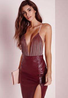 Velvet Plunge Bodysuit Pink - Velvet - Bodysuit - Tops - Missguided
