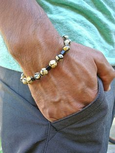 Mens Spiritual Healing, Love, Protection Bracelet with Semi Precious Beige and Black Fire Tibetan Agates, Hematites in silver tone, Jet Glass Cubes.