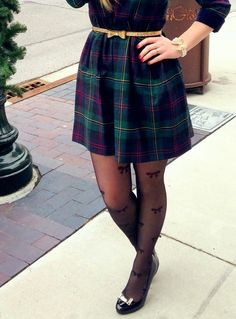Plaid, glitter, pearls, and bows