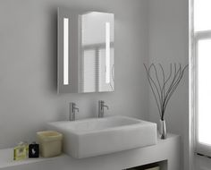 Aglaia Fluorescent Mirror with Demister & Shaver Socket