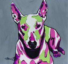 Bull Terrier Pop Art.  12x12 giclee $35