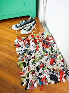 You know that overflowing drawer of free T-shirts? Turn them into something functional, like this recycled shirt rug.