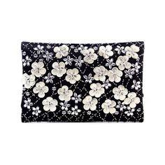 Oscar de la Renta Black Embroidered Satin D.D. Bag ($1,685) ❤ liked on Polyvore featuring bags, handbags, black over the shoulder purse, black evening bag, satin evening bag, chain purse and black satin purse