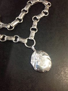 Silver bookchain and locket  by wrightjewels on Etsy