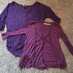 Bundle of purple urban outfitters tops Gently worn bundle of purple tops from Urban outfitters. Light purple is an XS and dark is a small. Both fit like an XS. Urban Outfitters Tops Tees - Long Sleeve