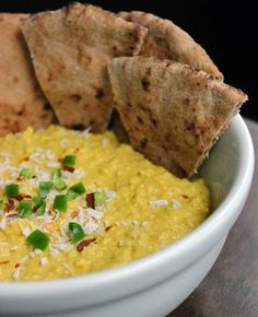 Thai coconut hummus! A spicy snack we love to dip into.