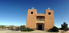 Sacred Heart Church Nambe Pueblo New Mexico Indian Reservation Nuestra Senora De Guadalupe Del Valle De Pojoaque High Road Taos (Yes, the church bows out on the sides!)