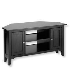 """Painted Cottage Corner TV Stand in Black from L.L. Bean, Holds 125 lbs., 48"""" W, 24"""" H, 21.5"""" D. There are no backs or shelves behind the doors."""