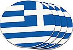 "Amazon.com: Custom & Cool {4"" Inches} Set Pack Of 4 Round Circle ""Grip Texture"" Drink Cup Coasters Made of Plastic w/ Cork Bottom w/ Greece National Country Travel Flag Design [Colorful Blue & White]: Home & Kitchen"