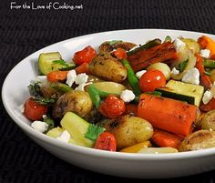 Roasted Vegetables with Feta Cheese. Made it. Love it. Making it again tomorrow.