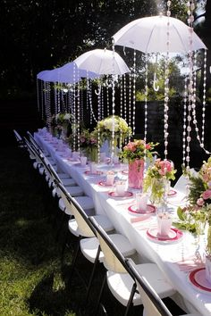 Garden party. Umbrellas. Maybe not over the dining tables, but elegant. Follow at: www.partylite.biz/jenhardy www.facebook.com/partyhardyjen #jenhardyyourcandlelady
