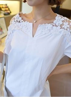 Solid Casual Cotton Round Neckline Half Sleeve Blouses