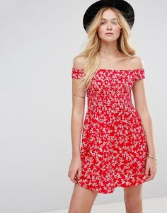 Buy it now. ASOS Shirred Off Shoulder Mini Sundress in Red Floral Print - Multi. Dress by ASOS Collection, Lightweight woven fabric, Floral print, Off-shoulder design, Shirred-stretch bodice, Regular fit - true to size, Machine wash, 100% Polyester, Our model wears a UK 8/EU 36/US 4 and is 178cm/5'10 tall. Score a wardrobe win no matter the dress code with our ASOS Collection own-label collection. From polished prom to the after party, our London-based design team scour the globe to nail…
