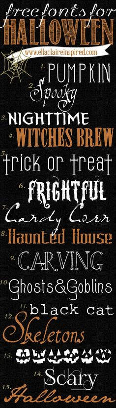 These Halloween fonts are great for making party place-cards, gift tags, decorative signs, banners, you name it! Free Fonts for Halloween Free Fonts For HalloweenFree Dingbats For Fa. Origami Halloween, Halloween Fonts, Halloween Cards, Halloween Outfits, Holidays Halloween, Happy Halloween, Halloween Projects, Whimsical Halloween, Halloween Poster