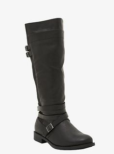 Wide calf strappy riding boot from Torrid. I NEED these, I've been looking for something like this for AGES.