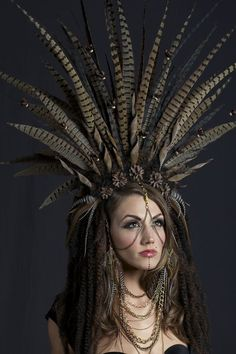 Incredible tribal feather and pine cone headress Feather Headpiece, Fascinator, Gypsy Headpiece, Vintage Gypsy, Gypsy Life, Fantasy Costumes, Hippie Jewelry, Bandeau, Headgear