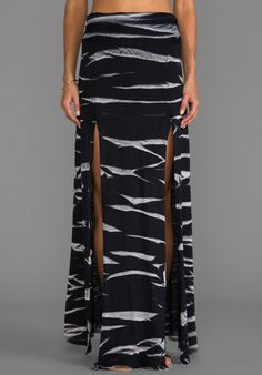 LA Made Horizon Wash on Jersey Double Slit Maxi in Black