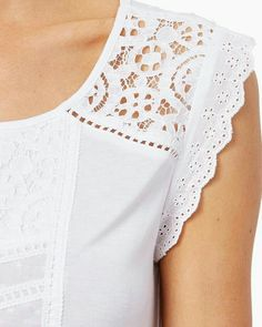Shop for women's fashion apparel, clothing, and elegant, dressy embroidered lace tops with pastel shades. Baby Girl Dress Patterns, Dress Neck Designs, Patchwork Dress, Blouse Patterns, Embroidered Lace, Lace Tops, Fashion Details, Fashion Dresses, Shopping