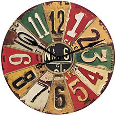 Clock from old license plates