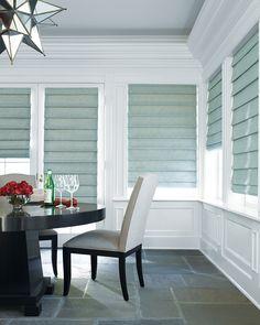 A beautifully inviting dining room…..Design Studio™ Roman Shades ♦ Hunter Douglas Window Treatments