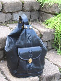 $0.99 Auction, on sale tomorrow- $500 Marino Orlandi Black Leather Backpack Bookbag Purse Bucket Tote School BAG   eBay