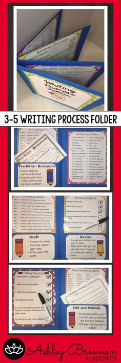 Help students through the writing process by attaching two folders. Students can store their writing in a pocket according to what step they are in the process. Also includes writing topic ideas, commonly misspelled and overused words, and editing check (Step Class)