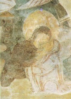 Benevento, chiesa di santa sofia, visitazione (particolare) affresco fine VIII inizio IX secolo.
