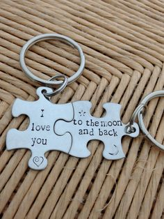 I love you to the moon and back puzzle piece by SilverBlissShop, $20.00