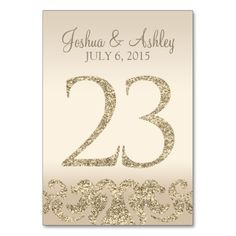Glitter Look Wedding Table Numbers-Table Card 23