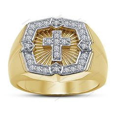 0.90Ct 14k Yellow Gold Plated 925 Silver New Men's Cross Band Ring Jewelry…