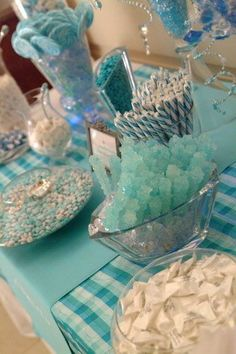 Blue Candy Cart Table amazing for fullerton graduation party CSUF. also amazing for a kids disney frozen themed birthday party Frozen Themed Birthday Party, Frozen Party, Birthday Party Themes, Blue Candy Buffet, Candy Table, Candy Cart, Idee Diy, Wedding Candy, Baby Boy Shower