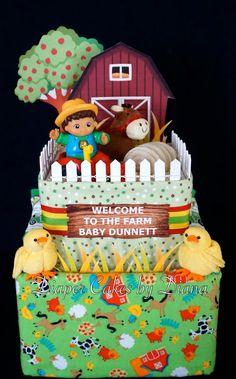 Farm Themed Diaper Cake www.facebook.com/DiaperCakesbyDiana