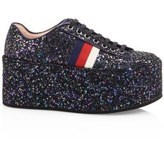 Gucci Peggy Glitter Platform Sneakers (2.845 BRL) ❤ liked on Polyvore featuring shoes, sneakers, round toe sneakers, rubber sole shoes, platform trainers, glitter platform shoes and gucci sneakers