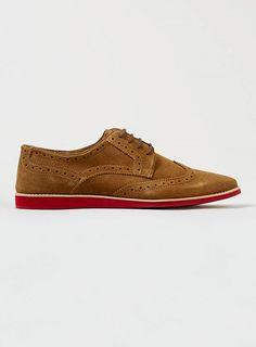 Topman Tan Suede Wedge Brogue Shoes