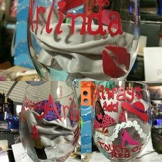 Ladies themed hand painted wine glass