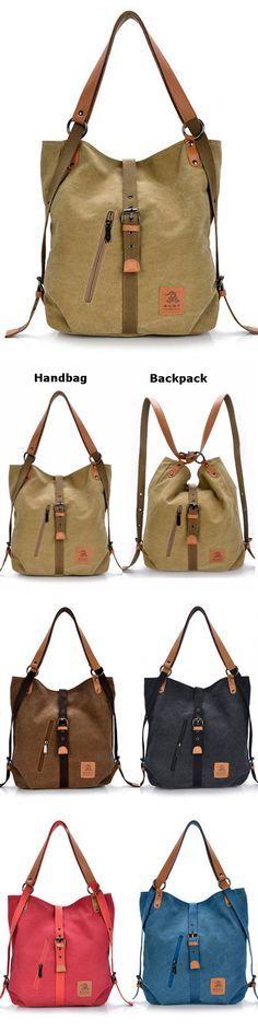 US$28.66  Women Canvas Casual Multifunctional Microfiber Leather Large Capacity Handbag Shoulder Bags Backpack