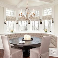 booth seating and a round table to change things up in the dining room!