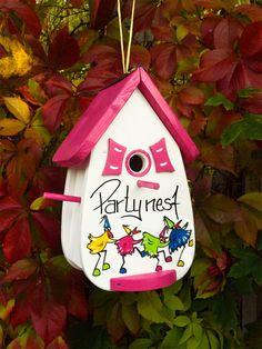 Birdhouse, birdhouse Gift, with Wunschbeschrift Bird Houses Painted, Decorative Bird Houses, Bird Houses Diy, Painted Birdhouses, Wedding Birds, Diy Bird Feeder, Bird Boxes, House Gifts, Wooden Bird