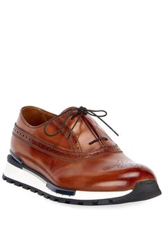 Berluti Men's Venezia Leather Brogue Sneakers - Bergdorf Goodman Leather Brogues, Leather Sneakers, Calf Leather, Tom Ford Jacket, Brown Sneakers, Fashion Shoes, Men Fashion, Me Too Shoes, Oxford Shoes