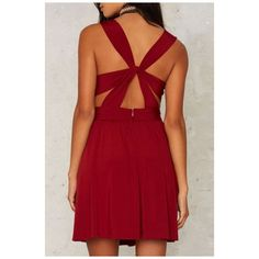 Sexy Crisscross Back Plunge V-Neck Plain Mini Party Dress (44 AUD) ❤ liked on Polyvore featuring dresses, plunging v neck dress, sexy dresses, sexy red cocktail dress, sexy mini dress and red v neck dress