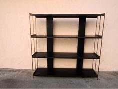 mid century modern narrow metal bookshelf black and gold los angeles by housecandyla 12500 - Bookshelves Los Angeles