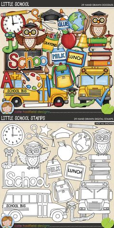 School digital scrapbooking elements | Cute school clip art | Hand-drawn illustrations for digital scrapbooking, crafting and teaching resources from Kate Hadfield Designs! Click through to see projects created using these illustrations!