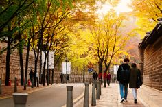 """seoulmagazine: """"Autumn in the city: Deoksugung Doldam-gil (""""Stone Wall Road""""), Jeong-dong. Photos by Robert Koehler, editor-in-chief, SEOUL. Get SEOUL Magazine (iOS, Android) """" //"""