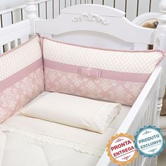 KIT BERÇO ENCANTO ROSÉ 8 PEÇAS Baby Girl Room Decor, Baby Bedroom, Baby Decor, Kids Bedroom, Baby Girl Bassinet, Baby Crib Bedding, Baby Pillows, Baby Cot Bumper, Cot Sets
