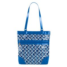 Think about your favorite things, how nice they are, and how everything nice can be put in this fun tote. Featuring blue PVC and a complementary lining, this floral patterned tote has got the style and space you need.