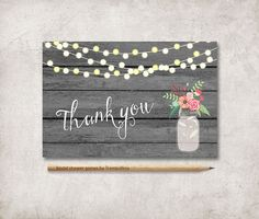 Thank You Card Printable, Mason Jar Thank you Card, Rustic Wedding Thank you Card, Bridal Shower Thank you Card. Matching cards and games at: tranquillina.etsy.com